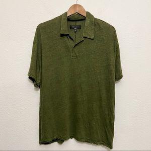 Rag & Bone Owen Linen Polo Shirt Green XL